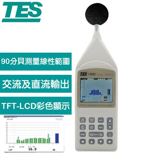 【送TAF檢測報告】TES泰仕 1/1 及 1/3 八音度即時音頻分析儀 TES-1358C