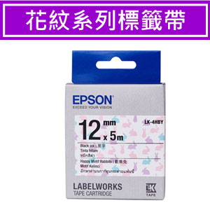EPSON LK-4HBY S654468標籤帶(花紋系列) (歡樂兔)黑字12mm