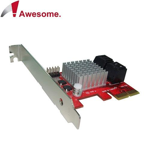 Awesome PCIe 2.0x4埠AHCI SATAIII 6.0擴充卡 AWD-PE-120