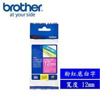 Brother TZe-MQP35 護貝標籤帶 12mm 粉紅底白字