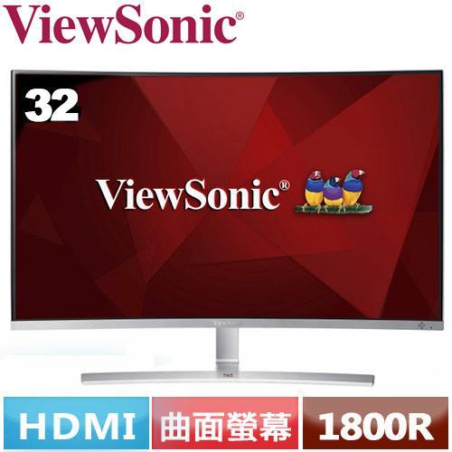 R1【福利品】ViewSonic 32型 VA曲面螢幕 VX3216-SCMH