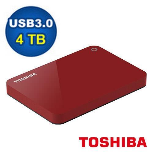【網購獨享優惠】TOSHIBA Canvio Advance V9 4TB 2.5吋行動硬碟-紅
