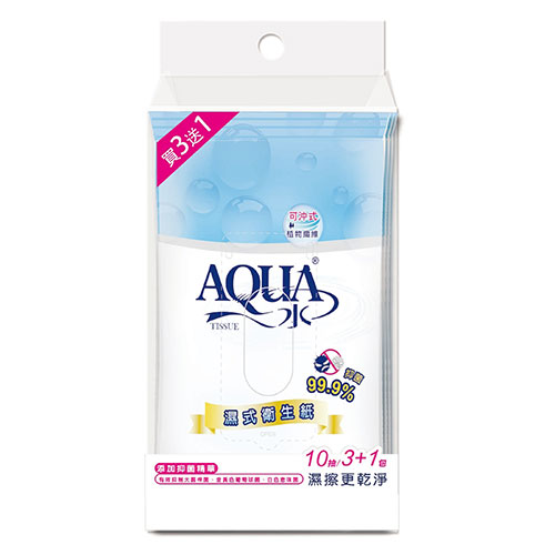 【AQUA水】濕式衛生紙(10抽*3+1包x18串/箱)
