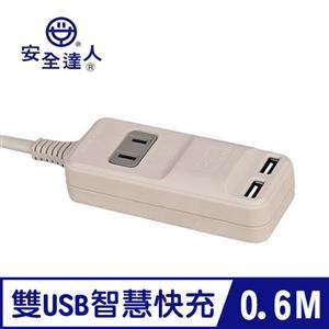 安全達人 2P AU-1202 1插+USB充電器 轉向延長線 0.6M