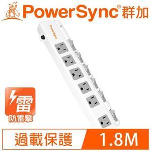 PowerSync群加 6開6插斜面開關防雷擊抗搖擺加距延長線1.8M 6呎TPS366BN9018