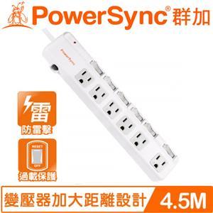 PowerSync群加 TPS366BN9045 6開6插斜面開關防雷擊抗搖擺延長線 4.5M