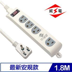 威電 CK3143-06 3P 1開4插電源延長線 6呎 1.8M