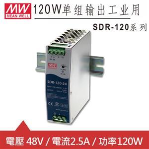 MW明緯 SDR-120-48 48V軌道式電源供應器 (120W)