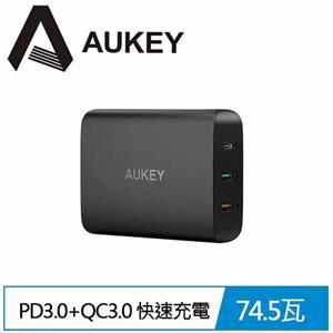 【AUKEY】PA-Y13 74.5W PD3.0+QC3.0 3孔快速充電器