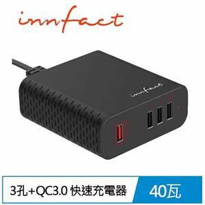 【最後7組】innfact T40 3孔+QC3.0 快速充電器 (Turbo