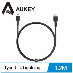 Aukey CB-CL1 MFi認證 USB-C to Lightning 編織尼龍急速傳輸充電線(1.2m