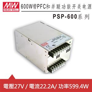 MW明緯 PSP-600-27 27V機殼型交換式電源供應器 (W)