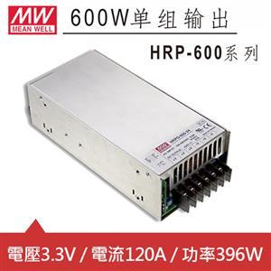 MW明緯 HRP-600-3.3 3.3V交換式電源供應器 (396W)