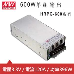 MW明緯 HRPG-600-3.3 3.3V交換式電源供應器 (396W)