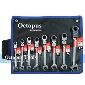Octopus尚卓 8支組 搖頭梅開棘輪扳手 8-17mm(473.7001)