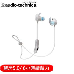 audio-technica 鐵三角 SPORT60BT 頸掛藍牙無線耳機麥克風-白