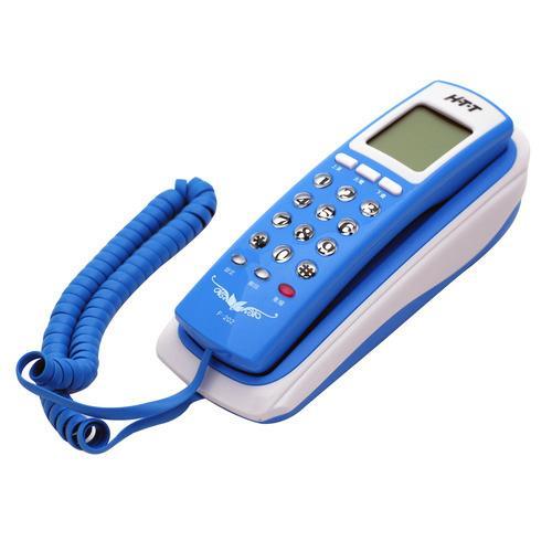 HTT桌壁兩用來電顯示有線電話HTT-F202(藍)