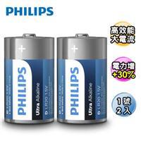 PHILIPS 飛利浦 超鹼性1號電池2入(背卡)