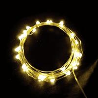 USB 5V 防水型銀絲燈(10燈 1M)暖白光