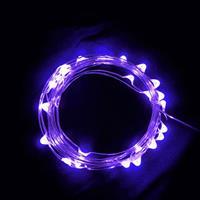 USB 5V 防水型銀絲燈(10燈 1M)紫光