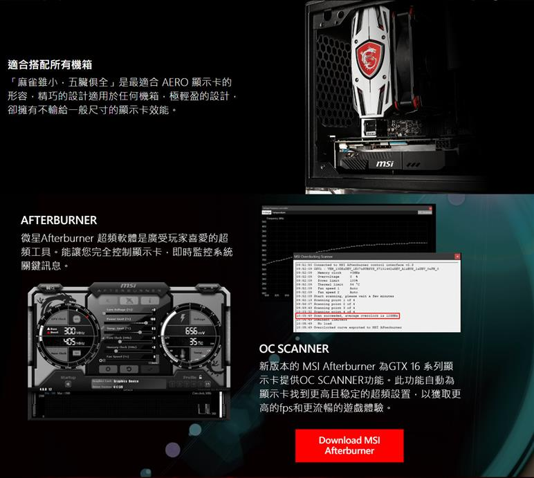 MSI微星 GeForce GTX 1650 AERO 4G OC 顯示卡
