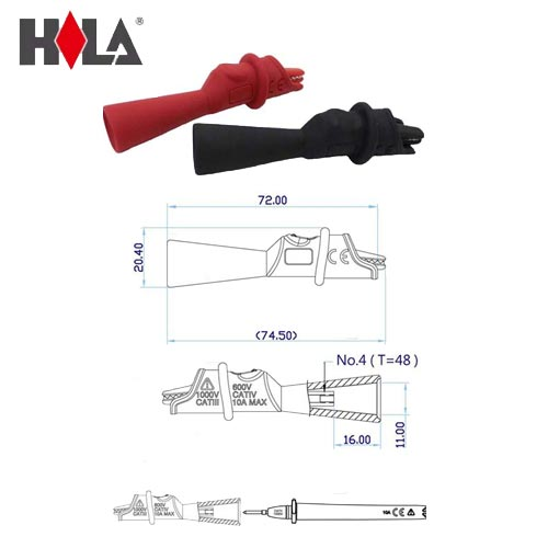 HILA海碁 2mm測棒轉小鱷魚夾 FC-A40
