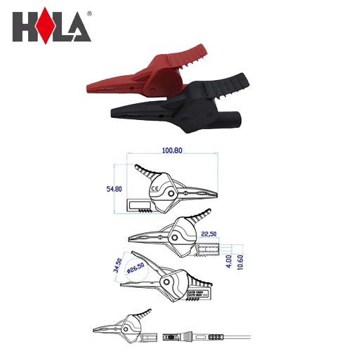 HILA海碁 4mm測試線轉大鱷魚夾+穿刺鋼針 FC-A32