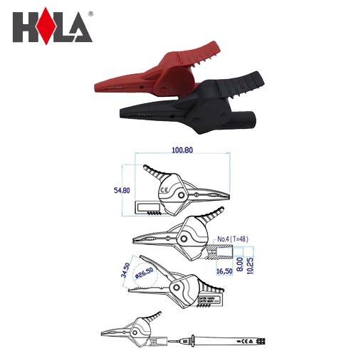 HILA海碁 2mm測試棒轉大鱷魚夾+穿刺鋼針 FC-A34