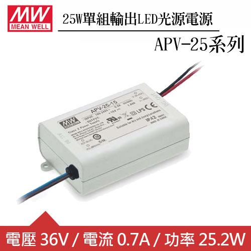 MW明緯 APV-25-36 單組36V輸出LED光源電源供應器(25W)