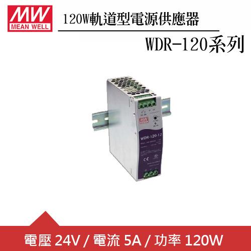 MW明緯 WDR-120-24  24V軌道型電源供應器 (120W)