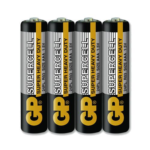GP超霸 4號超級碳鋅電池(AAA) 4入 黑色