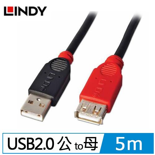 LINDY林帝 USB 2.0 TYPE-A/公 TO 母 延長線 5M