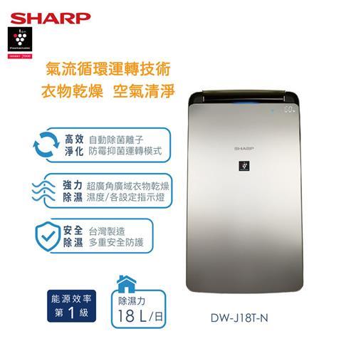 夏普18L 衣物乾燥自動除菌離子除濕機  DW-J18T-N
