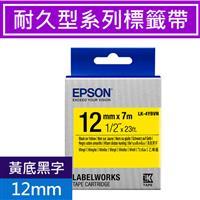 EPSON LK-4YBVN 耐久型標籤帶 12mm 黃底黑字 S654480