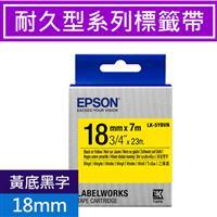 EPSON LK-5YBVN 耐久型標籤帶 18mm 黃底黑字 S655424