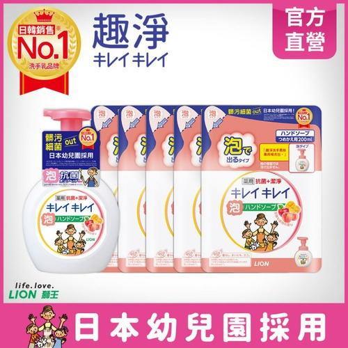 日本獅王趣淨洗手慕斯-清新果香(250ml+補充包200mlX5)組