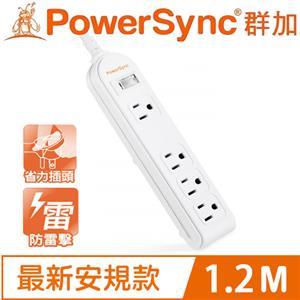 PowerSync群加 防雷擊1開4插延長線(加大距離) 1.2M PWS-EEA1412