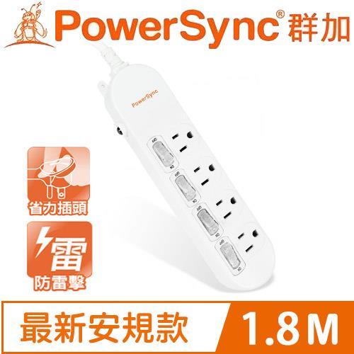 PowerSync群加 PWS-EEA4418 防雷擊4開4插延長線(加大距離) 6呎 1.8M