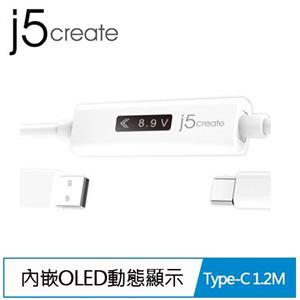 J5 JUCP13 Type-A to USB-C 內嵌OLED動態螢幕顯示1.2米