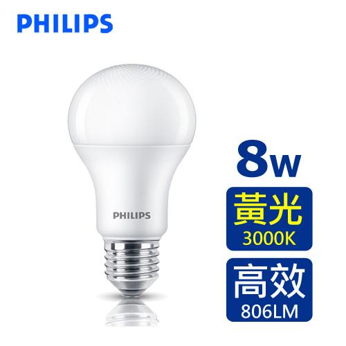 PHILIPS 飛利浦 8W LED廣角燈泡-黃光