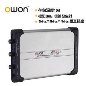 OWON 全新USB介面100MHZ/14bit高解析雙通道示波器 VDS6102A
