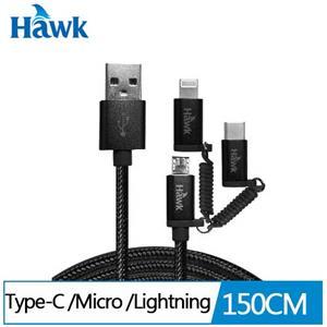 Hawk三合一高速充電傳輸線(黑)