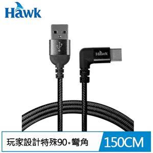 Hawk Type-C 90°彎角充電傳輸線(黑)