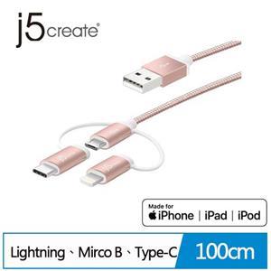 j5 Apple MFI原廠認證線-JMLC11玫瑰金-100cm