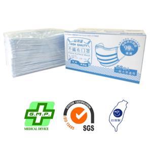 高效能醫用平面式三層不織布口罩(50片/盒)