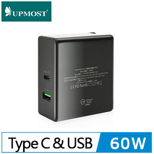 UPMOST UC401 Type-c PD3.0+USB QC3.0充電器(60W)