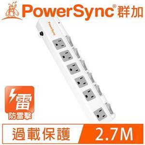 PowerSync群加  6開6插斜面開關防雷擊加距延長線2.7M 9呎 TPS366BN9027
