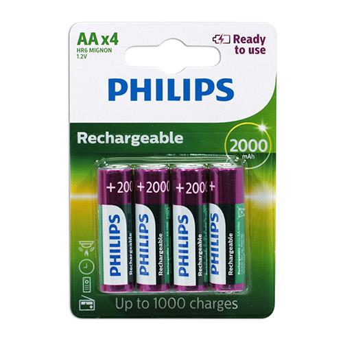 PHILIPS 飛利浦 3號低自放2000mAh充電電池4入