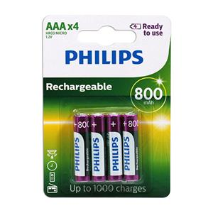 PHILIPS 飛利浦 4號低自放800mAh充電電池4入