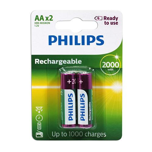 PHILIPS 飛利浦 3號低自放2000mAh充電電池2入